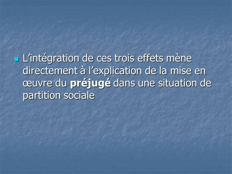  L'intégration de ces trois effets mène directement à l'explication de la mise en œuvre du préjugé dans une situation de partition sociale