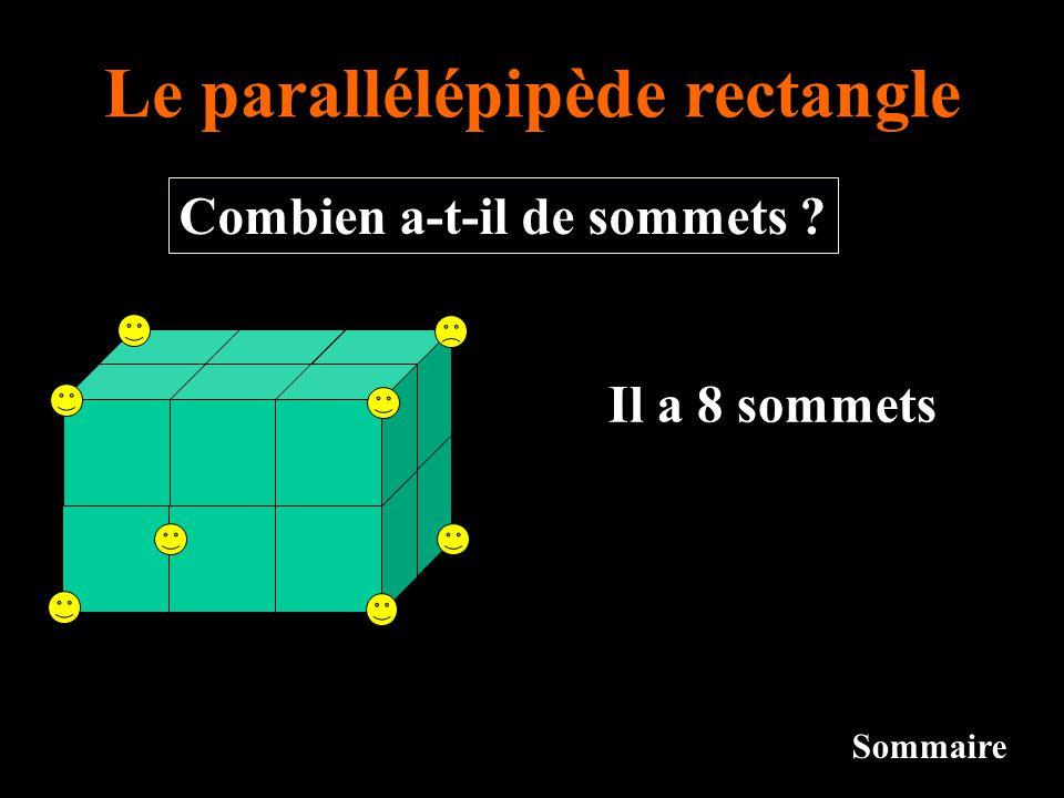Le parallélépipède rectangle Sommaire Il a 8 sommets Combien a-t-il de sommets ?