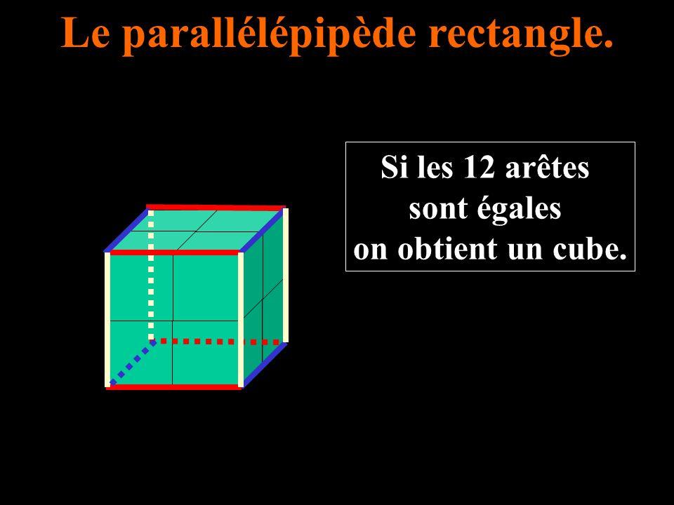 Le parallélépipède rectangle. Si les 12 arêtes sont égales on obtient un cube.