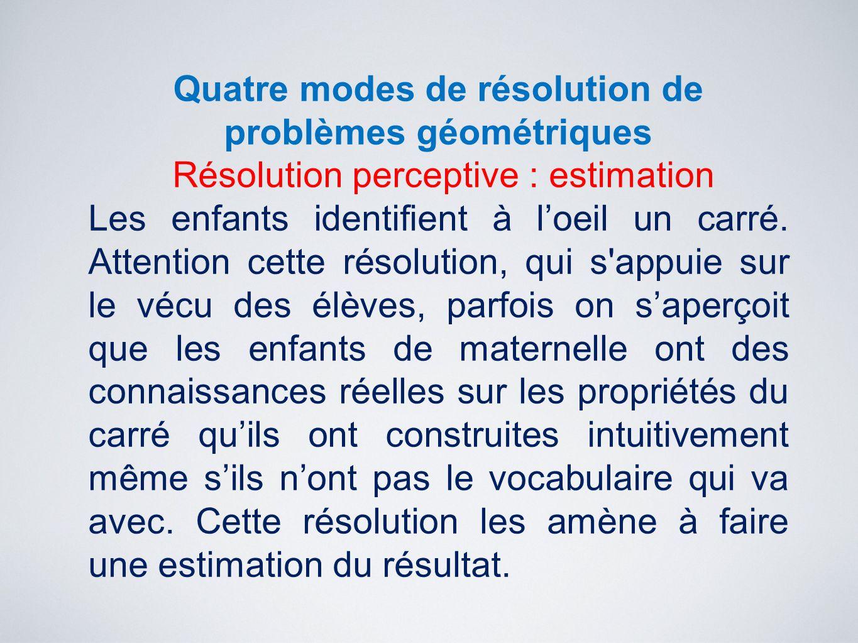 Quatre modes de résolution de problèmes géométriques Résolution perceptive : estimation Les enfants identifient à l'oeil un carré. Attention cette rés
