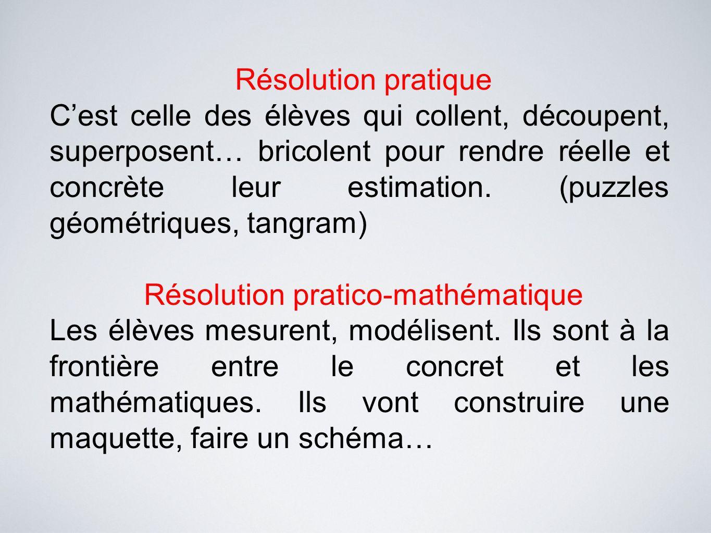 Résolution pratique C'est celle des élèves qui collent, découpent, superposent… bricolent pour rendre réelle et concrète leur estimation. (puzzles géo