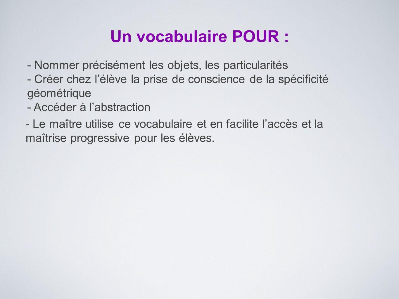 Un vocabulaire POUR : - Nommer précisément les objets, les particularités - Créer chez l'élève la prise de conscience de la spécificité géométrique -