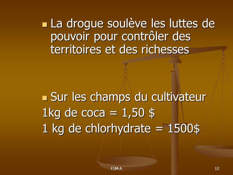ESM-A12  La drogue soulève les luttes de pouvoir pour contrôler des territoires et des richesses  Sur les champs du cultivateur 1kg de coca = 1,50 $