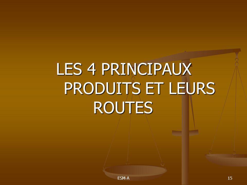 ESM-A15 LES 4 PRINCIPAUX PRODUITS ET LEURS ROUTES