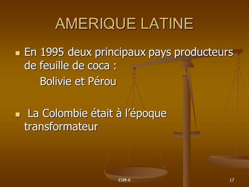 ESM-A17 AMERIQUE LATINE  En 1995 deux principaux pays producteurs de feuille de coca : Bolivie et Pérou  La Colombie était à l'époque transformateur
