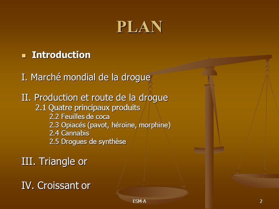 ESM-A2 PLAN  Introduction I. Marché mondial de la drogue II. Production et route de la drogue 2.1 Quatre principaux produits 2.2 Feuilles de coca 2.3
