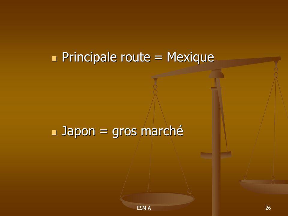 ESM-A26  Principale route = Mexique  Japon = gros marché