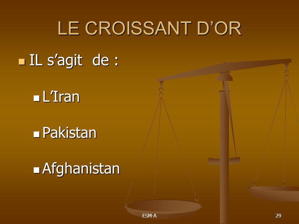 ESM-A29 LE CROISSANT D'OR  IL s'agit de :  L'Iran  Pakistan  Afghanistan