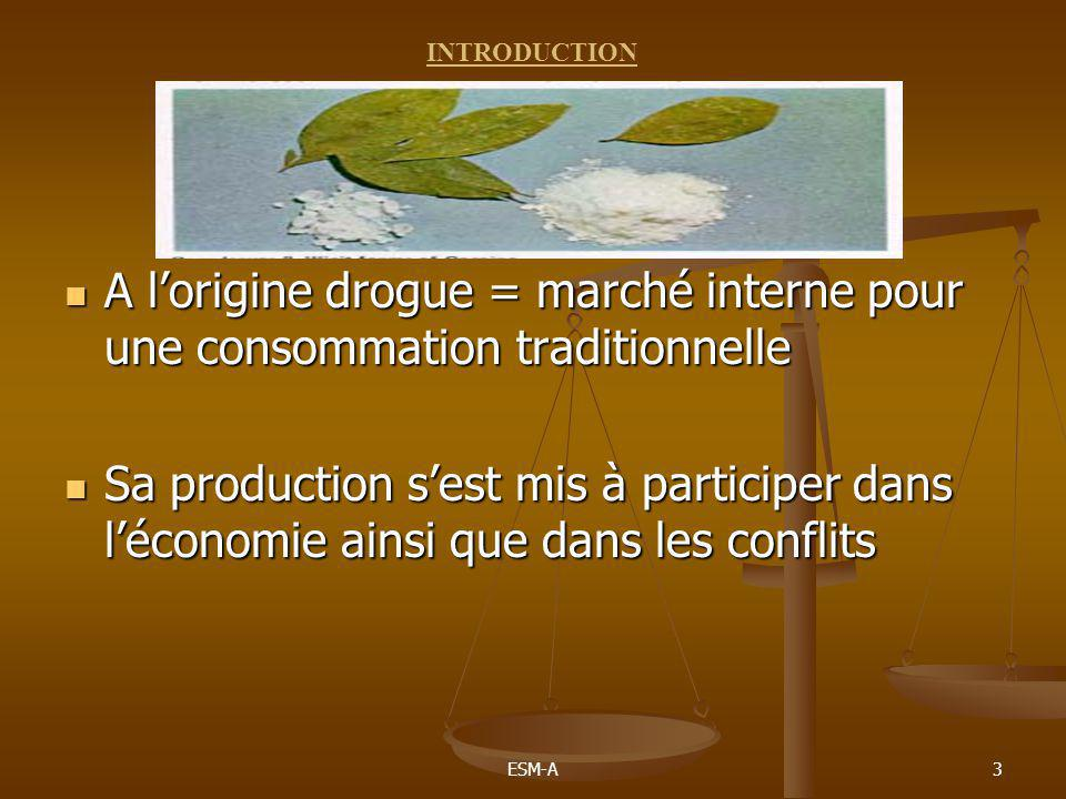 ESM-A3  A l'origine drogue = marché interne pour une consommation traditionnelle  Sa production s'est mis à participer dans l'économie ainsi que dan