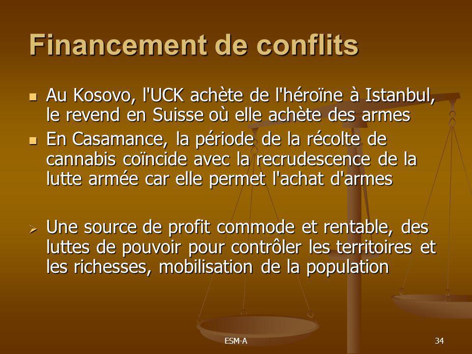 ESM-A34 Financement de conflits  Au Kosovo, l'UCK achète de l'héroïne à Istanbul, le revend en Suisse où elle achète des armes  En Casamance, la pér