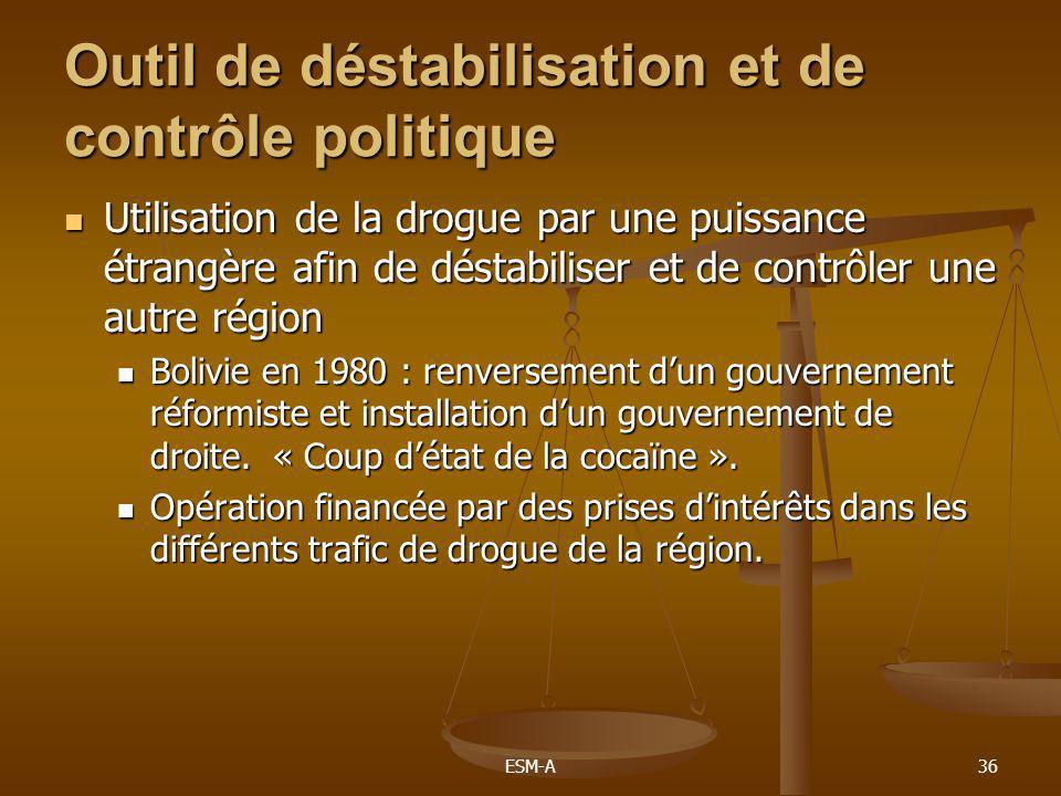 ESM-A36 Outil de déstabilisation et de contrôle politique  Utilisation de la drogue par une puissance étrangère afin de déstabiliser et de contrôler