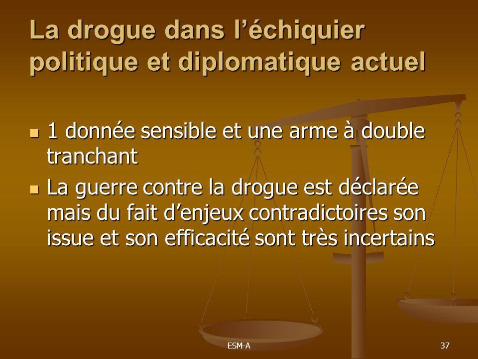 ESM-A37 La drogue dans l'échiquier politique et diplomatique actuel  1 donnée sensible et une arme à double tranchant  La guerre contre la drogue es