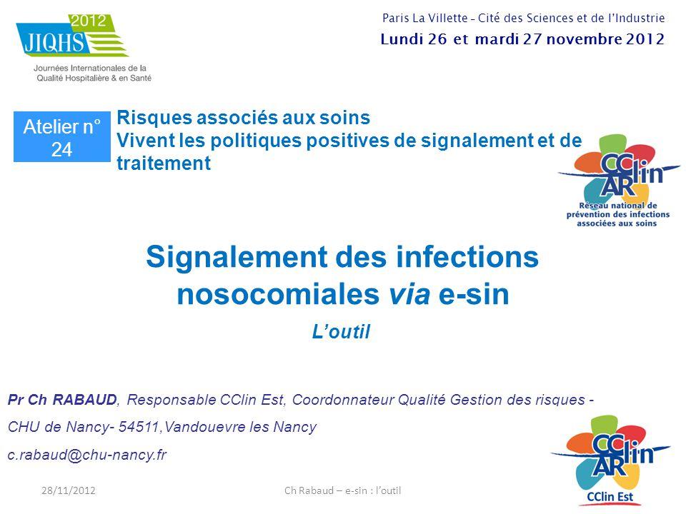 Signalement des infections nosocomiales via e-sin L'outil Pr Ch RABAUD, Responsable CClin Est, Coordonnateur Qualité Gestion des risques - CHU de Nanc