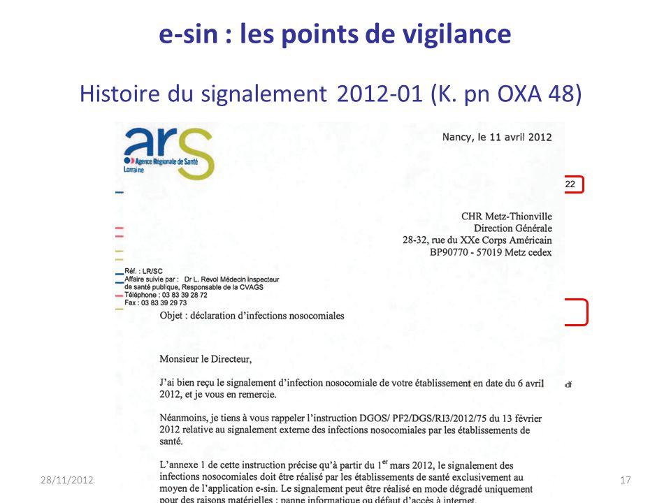 Histoire du signalement 2012-01 (K. pn OXA 48) 28/11/201217M llorens e-sin côté déclarant e-sin : les points de vigilance
