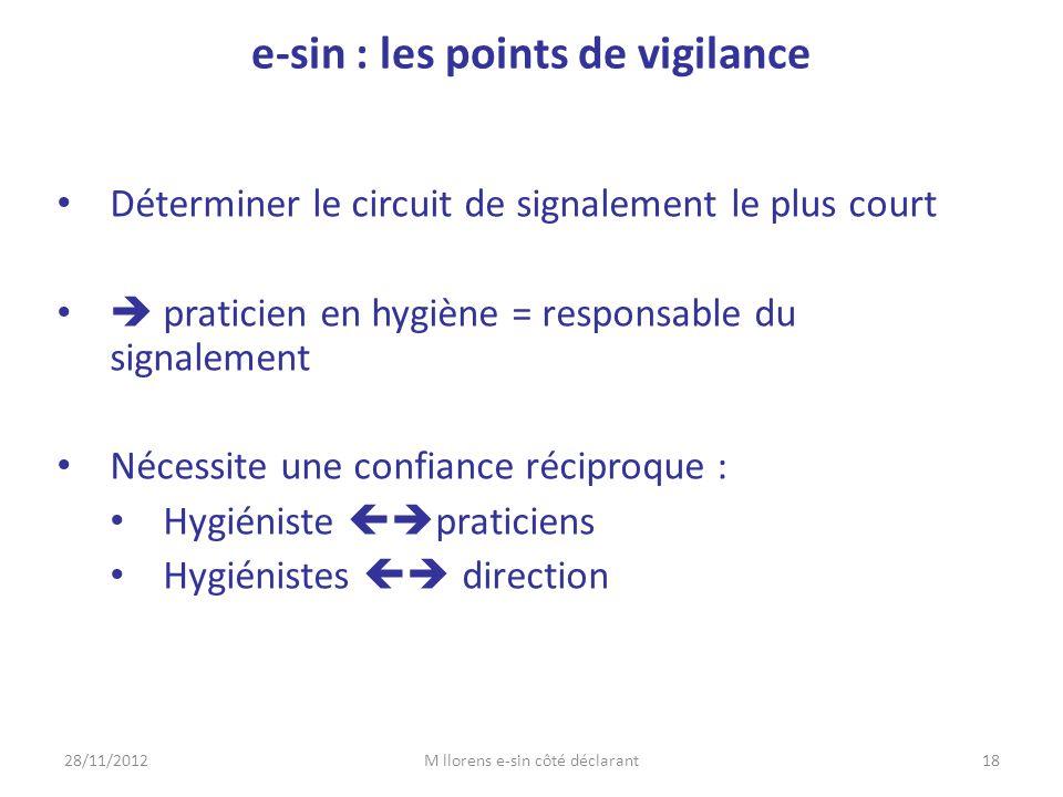 • Déterminer le circuit de signalement le plus court •  praticien en hygiène = responsable du signalement • Nécessite une confiance réciproque : • Hy