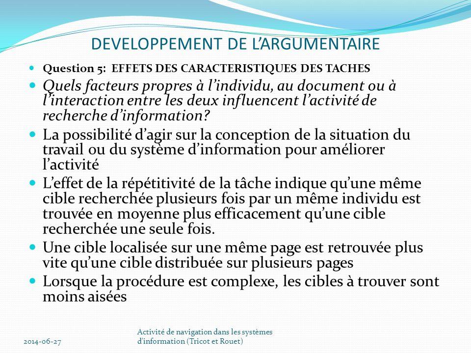 DEVELOPPEMENT DE L'ARGUMENTAIRE  Question 4: COMPREHENSION ET EVALUATION DES DOCUMENTS SELECTIONNES  Comment comprend-il et évalue t-il le contenu d