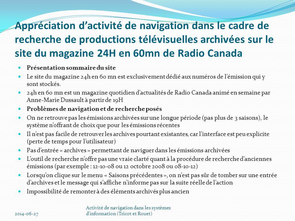 Appréciation d'activité de navigation dans le cadre de recherche de productions télévisuelles archivées sur le site du magazine 24H en 60mn de Radio C