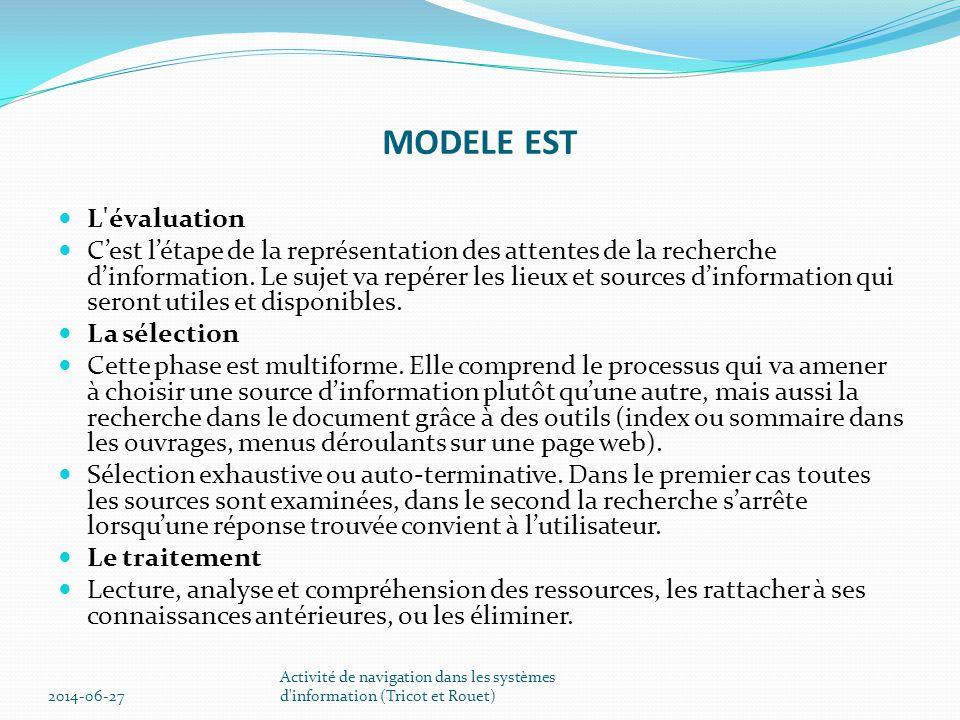 MODELE EST  L évaluation  C'est l'étape de la représentation des attentes de la recherche d'information.