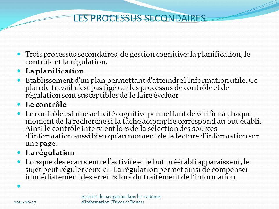 LES PROCESSUS SECONDAIRES  Trois processus secondaires de gestion cognitive: la planification, le contrôle et la régulation.