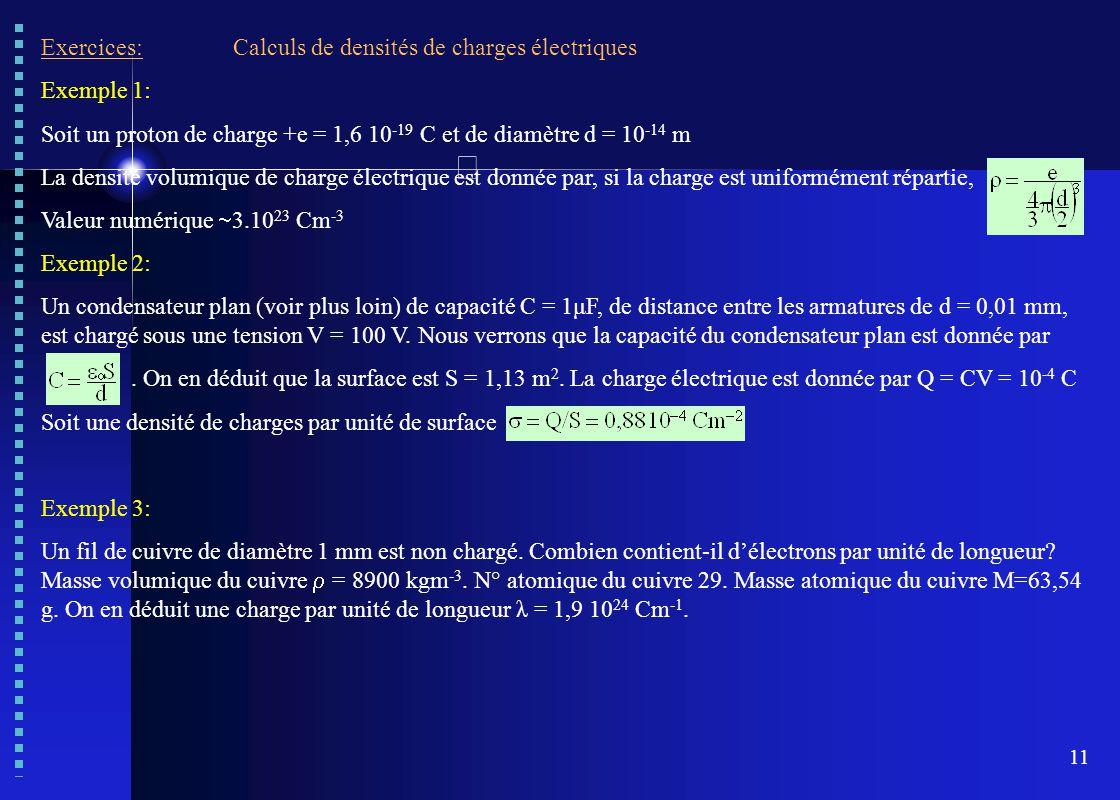 11 Exercices:Calculs de densités de charges électriques Exemple 1: Soit un proton de charge +e = 1,6 10 -19 C et de diamètre d = 10 -14 m La densité v