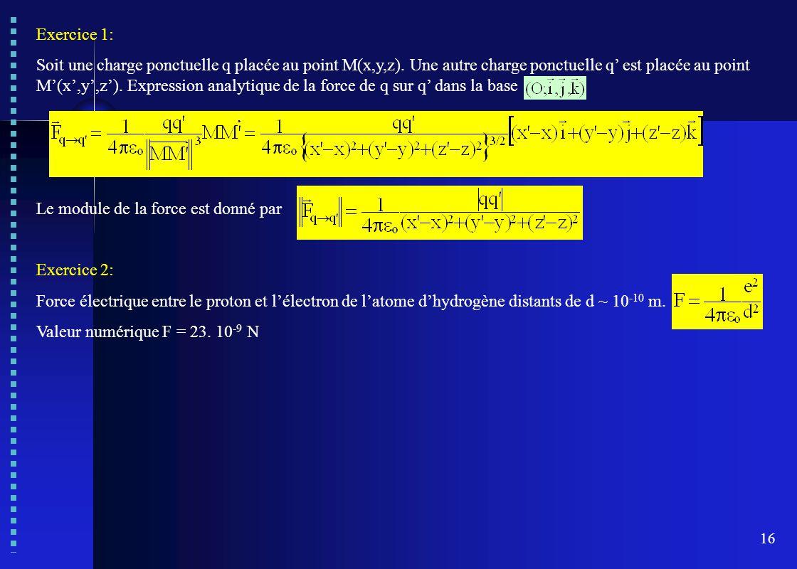 16 Exercice 1: Soit une charge ponctuelle q placée au point M(x,y,z). Une autre charge ponctuelle q' est placée au point M'(x',y',z'). Expression anal