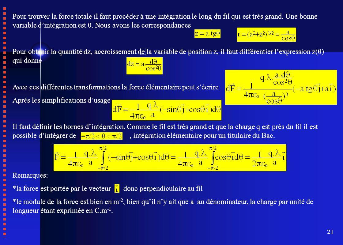21 Pour trouver la force totale il faut procéder à une intégration le long du fil qui est très grand. Une bonne variable d'intégration est θ. Nous avo