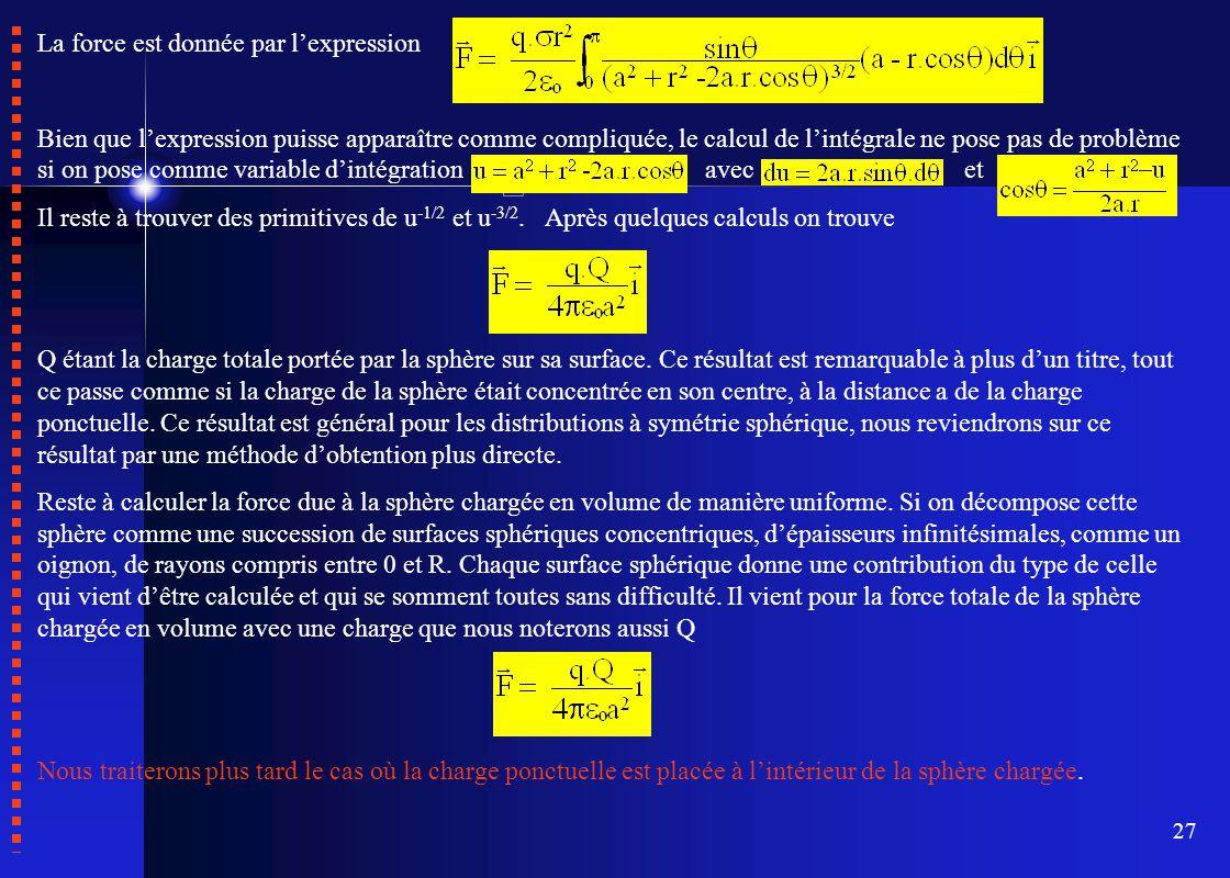 27 La force est donnée par l'expression Bien que l'expression puisse apparaître comme compliquée, le calcul de l'intégrale ne pose pas de problème si