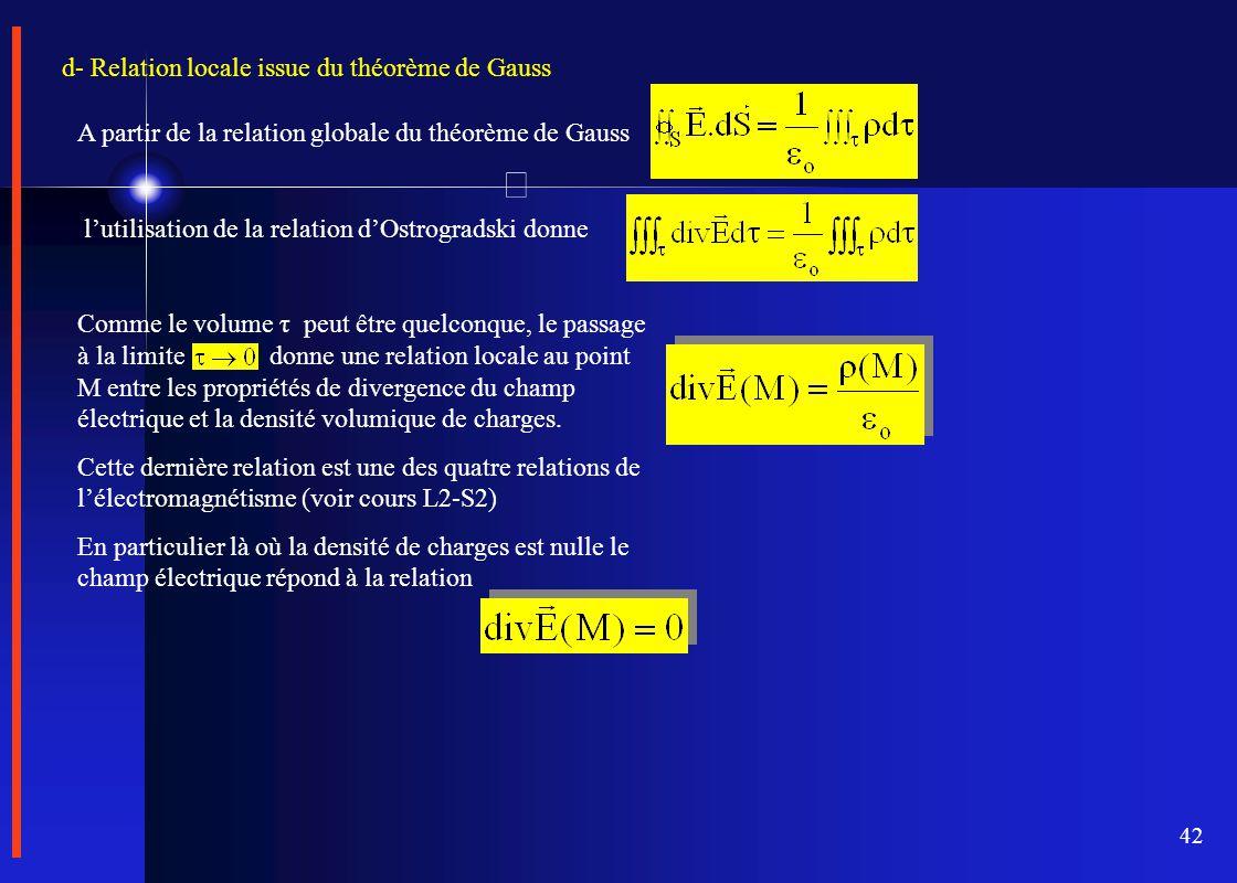 42 d- Relation locale issue du théorème de Gauss A partir de la relation globale du théorème de Gauss l'utilisation de la relation d'Ostrogradski donn