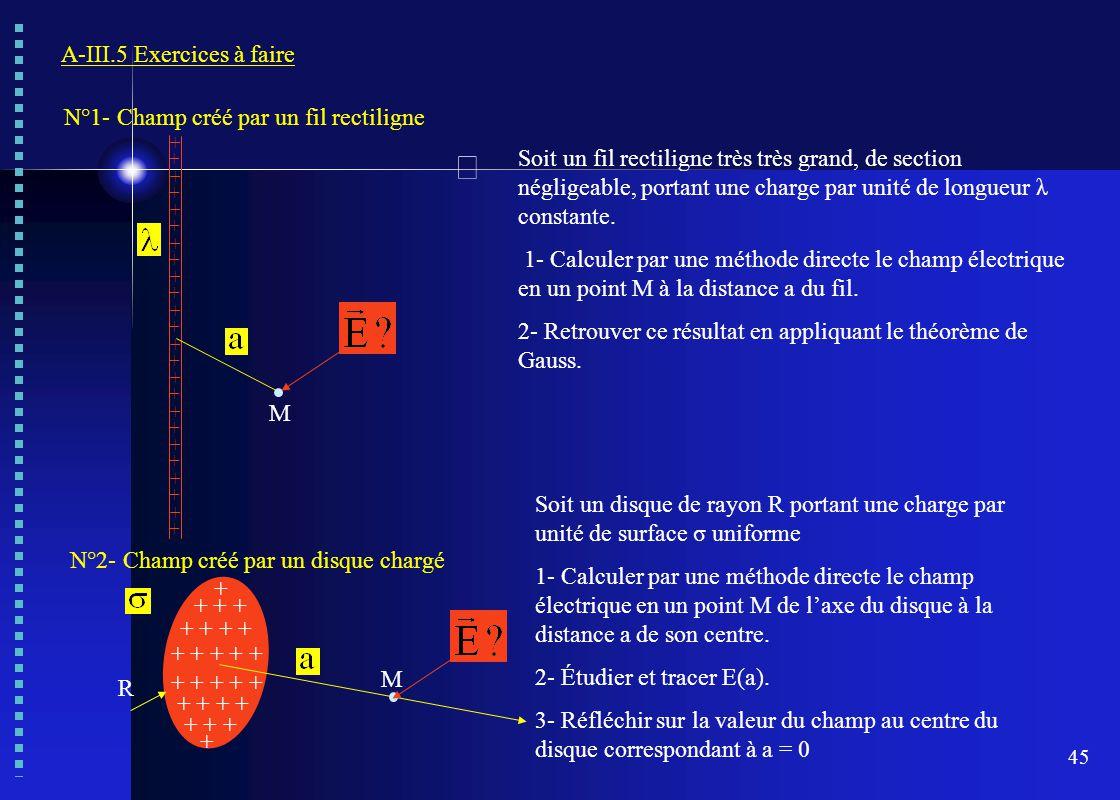 45 A-III.5 Exercices à faire Soit un fil rectiligne très très grand, de section négligeable, portant une charge par unité de longueur λ constante. 1-
