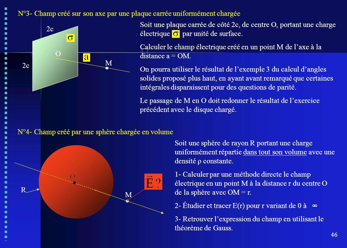 46 N°4- Champ créé par une sphère chargée en volume Soit une sphère de rayon R portant une charge uniformément répartie dans tout son volume avec une