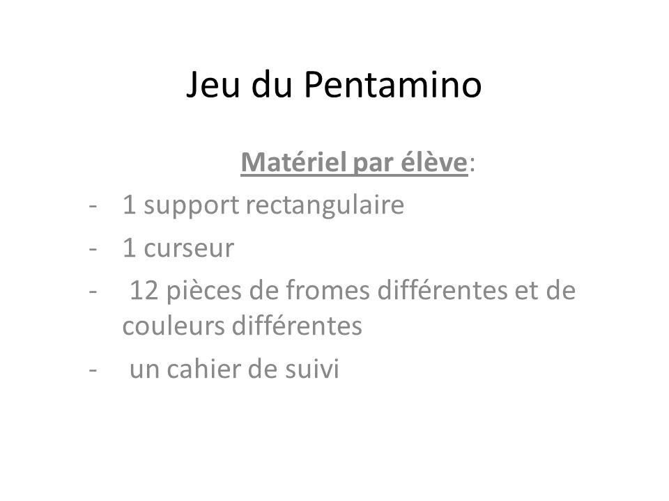 Jeu du Pentamino Matériel par élève: -1 support rectangulaire -1 curseur - 12 pièces de fromes différentes et de couleurs différentes - un cahier de s