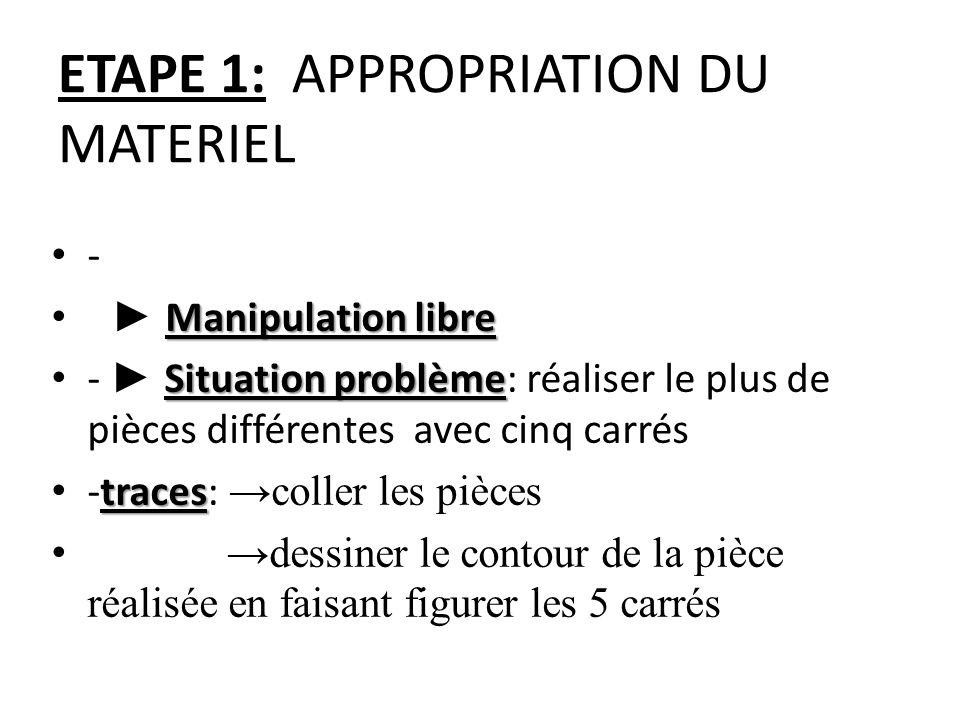 ETAPE 1: APPROPRIATION DU MATERIEL •-•- Manipulation libre • ► Manipulation libre Situation problème • - ► Situation problème: réaliser le plus de piè