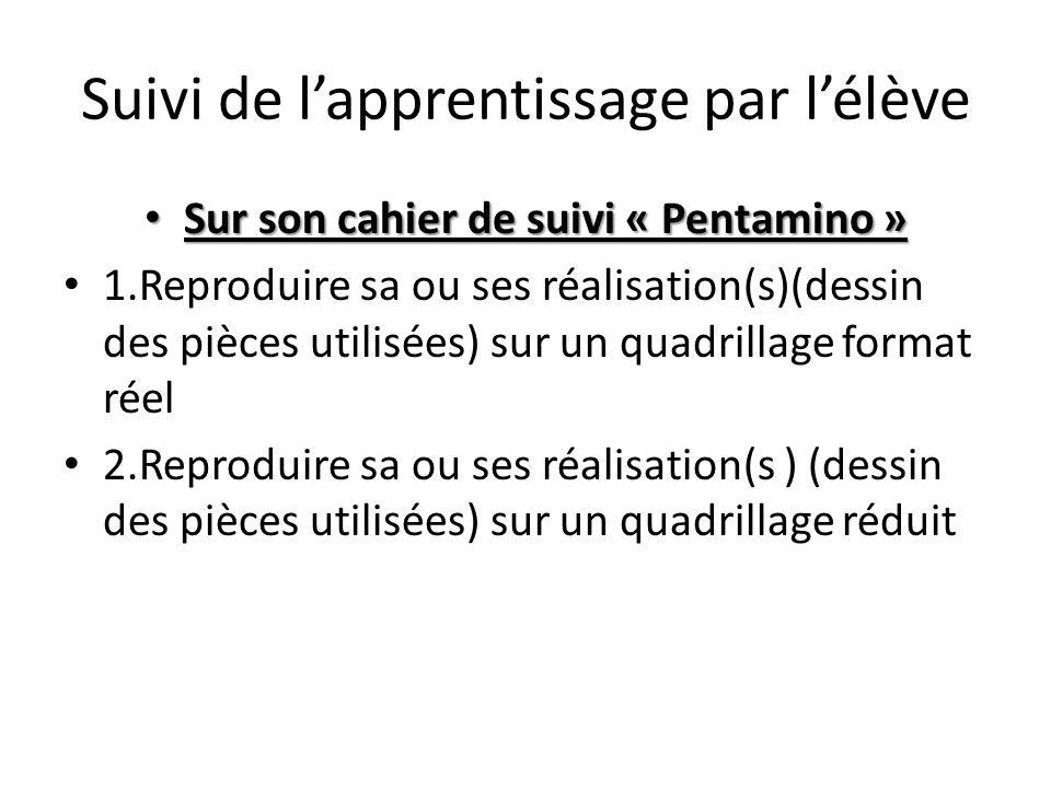 Suivi de l'apprentissage par l'élève • Sur son cahier de suivi « Pentamino » • 1.Reproduire sa ou ses réalisation(s)(dessin des pièces utilisées) sur