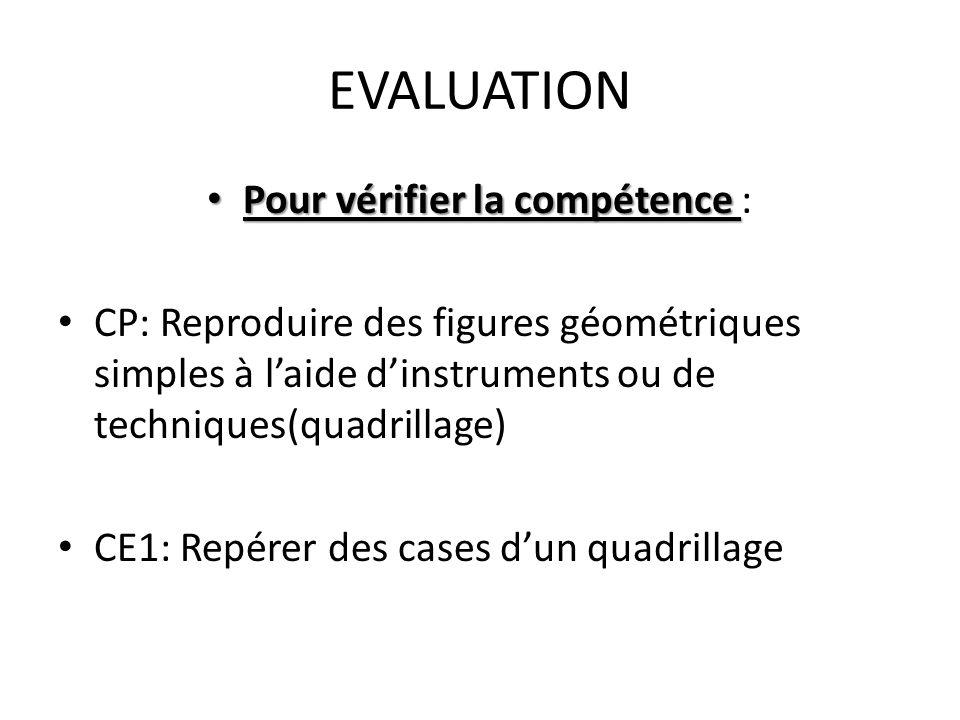 EVALUATION • Pour vérifier la compétence • Pour vérifier la compétence : • CP: Reproduire des figures géométriques simples à l'aide d'instruments ou d