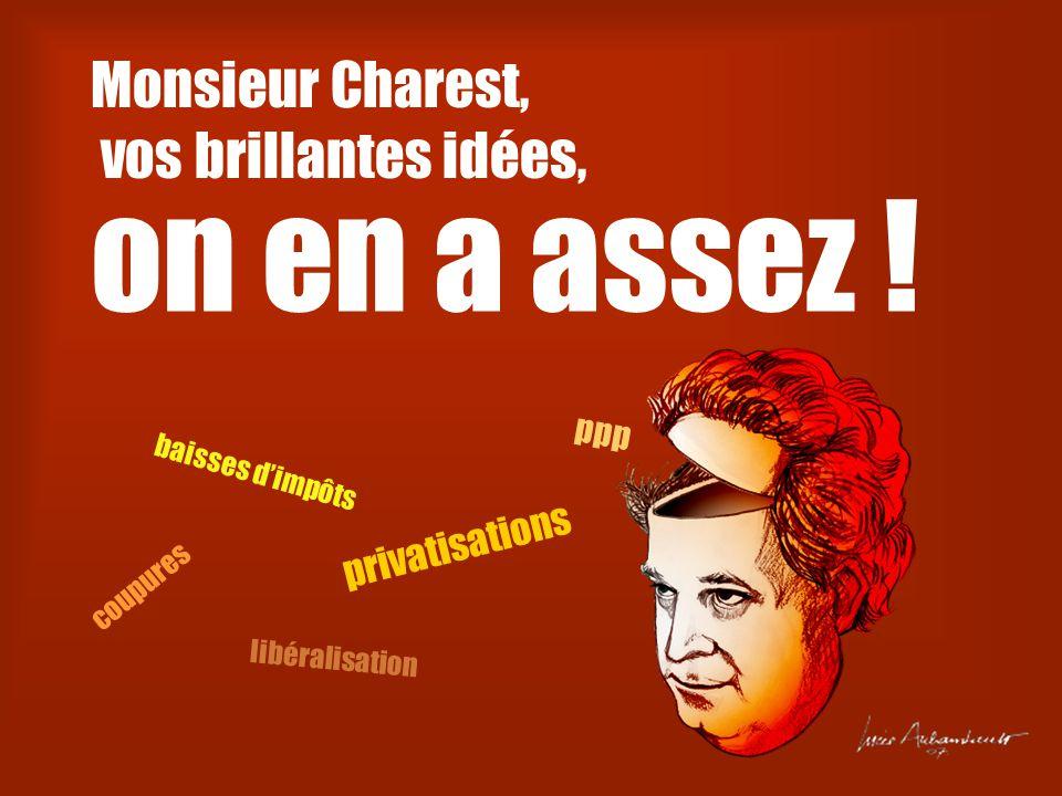 Monsieur Charest, vos brillantes idées, on en a assez .