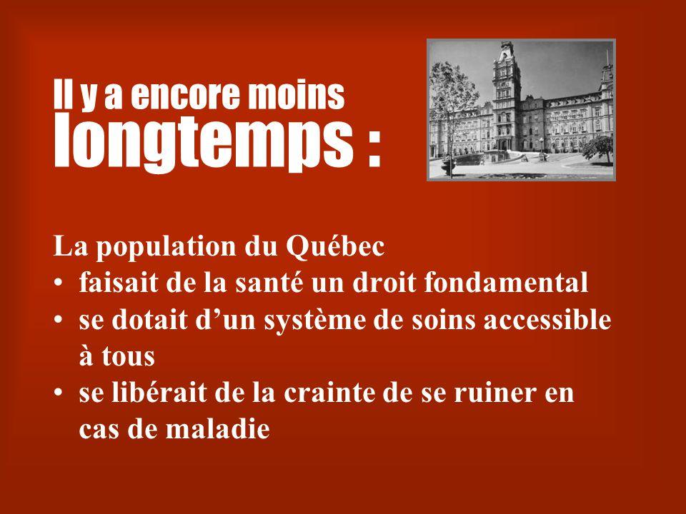Il y a encore moins longtemps : La population du Québec •faisait de la santé un droit fondamental •se dotait d'un système de soins accessible à tous •se libérait de la crainte de se ruiner en cas de maladie