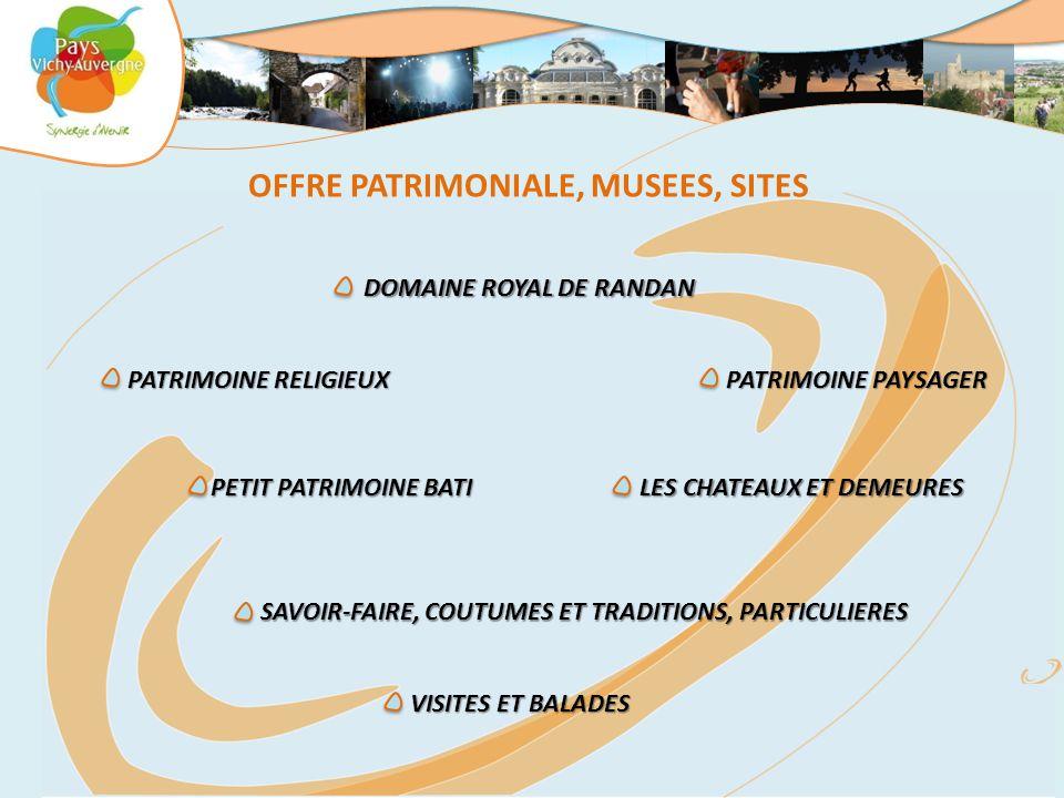 OFFRE PATRIMONIALE, MUSEES, SITES DOMAINE ROYAL DE RANDAN DOMAINE ROYAL DE RANDAN PETIT PATRIMOINE BATI PETIT PATRIMOINE BATI PATRIMOINE PAYSAGER PATRIMOINE PAYSAGER PATRIMOINE RELIGIEUX PATRIMOINE RELIGIEUX SAVOIR-FAIRE, COUTUMES ET TRADITIONS, PARTICULIERES SAVOIR-FAIRE, COUTUMES ET TRADITIONS, PARTICULIERES LES CHATEAUX ET DEMEURES LES CHATEAUX ET DEMEURES VISITES ET BALADES VISITES ET BALADES