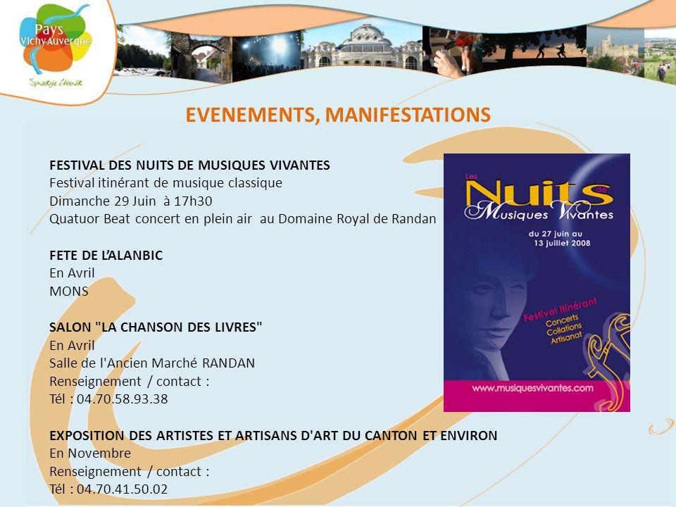 EVENEMENTS, MANIFESTATIONS FESTIVAL DES NUITS DE MUSIQUES VIVANTES Festival itinérant de musique classique Dimanche 29 Juin à 17h30 Quatuor Beat conce