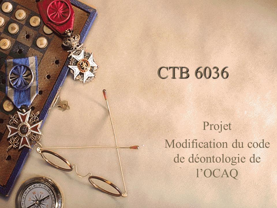 CTB 6036 Projet Modification du code de déontologie de l'OCAQ