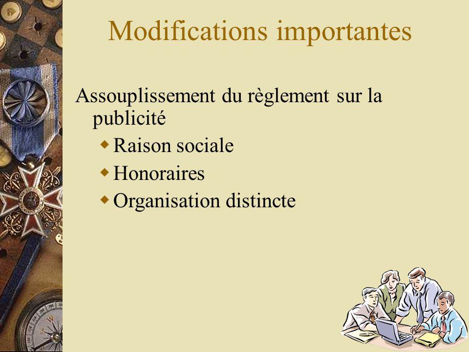 Modifications importantes Assouplissement du règlement sur la publicité  Raison sociale  Honoraires  Organisation distincte