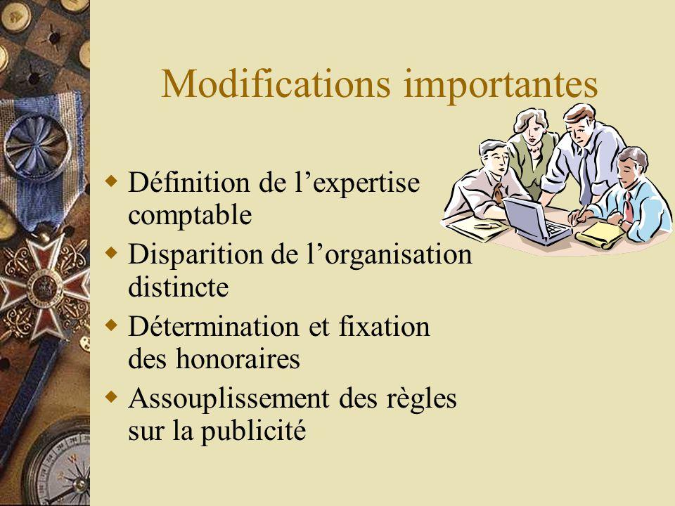 Modifications importantes  Définition de l'expertise comptable  Disparition de l'organisation distincte  Détermination et fixation des honoraires 