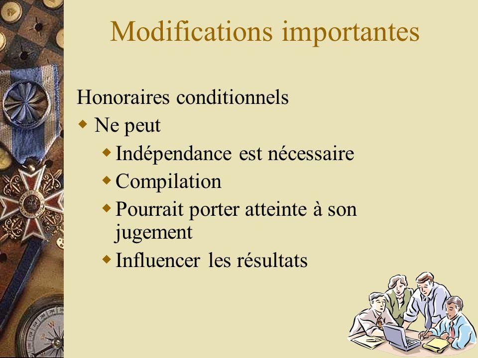 Modifications importantes Honoraires conditionnels  Ne peut  Indépendance est nécessaire  Compilation  Pourrait porter atteinte à son jugement  I