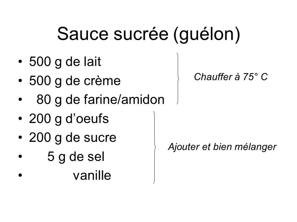 Sauce sucrée (guélon) •500 g de lait •500 g de crème • 80 g de farine/amidon •200 g d'oeufs •200 g de sucre • 5 g de sel • vanille Chauffer à 75° C Aj