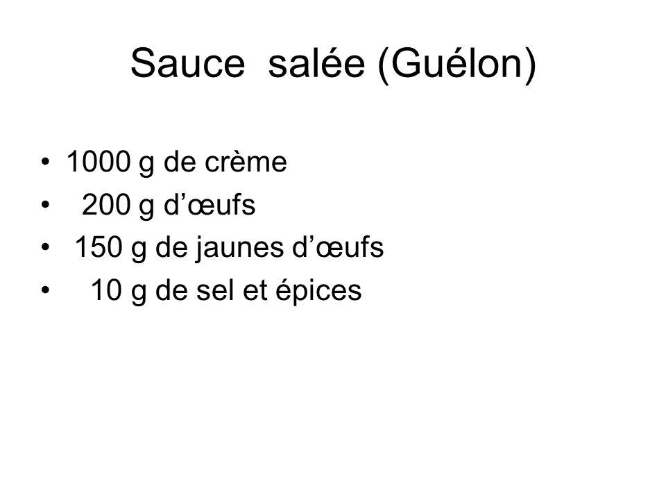 Sauce salée (Guélon) •1000 g de crème • 200 g d'œufs • 150 g de jaunes d'œufs • 10 g de sel et épices