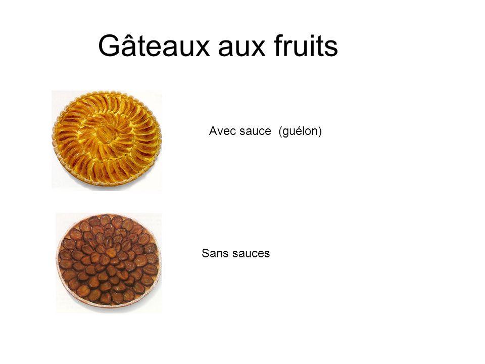 Gâteaux aux fruits Avec sauce (guélon) Sans sauces