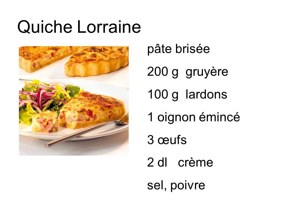 Quiche Lorraine pâte brisée 200 g gruyère 100 g lardons 1 oignon émincé 3 œufs 2 dl crème sel, poivre