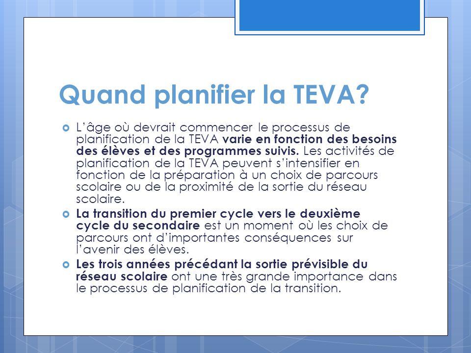 Quand planifier la TEVA?  L'âge où devrait commencer le processus de planification de la TEVA varie en fonction des besoins des élèves et des program