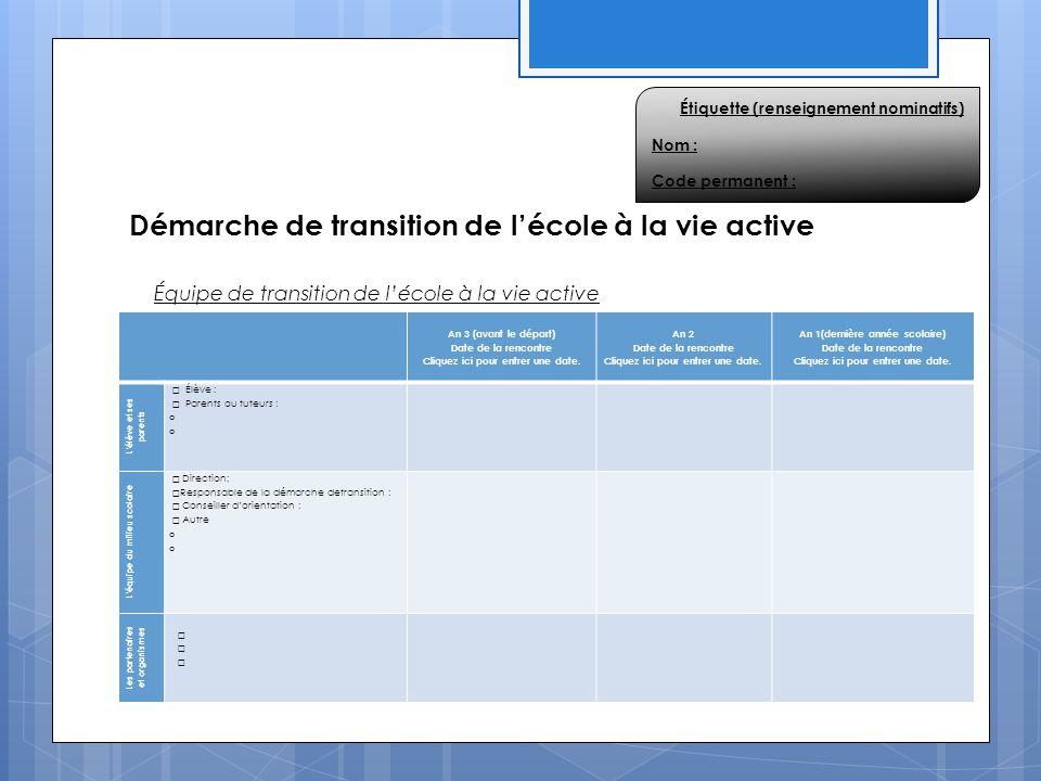 Démarche de transition de l'école à la vie active An 3 (avant le départ) Date de la rencontre Cliquez ici pour entrer une date. An 2 Date de la rencon