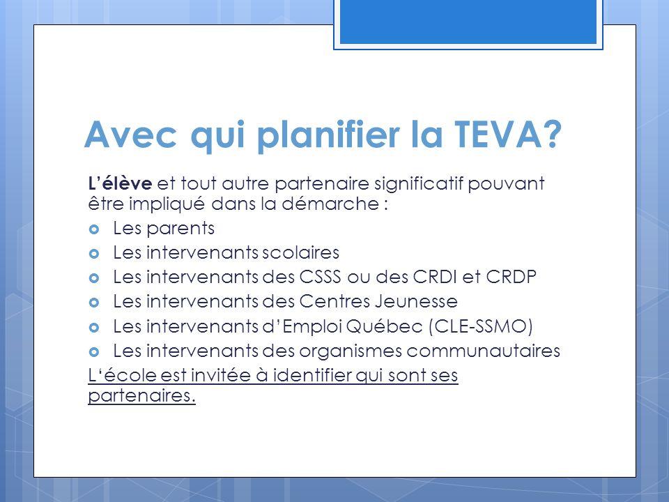 Avec qui planifier la TEVA? L'élève et tout autre partenaire significatif pouvant être impliqué dans la démarche :  Les parents  Les intervenants sc