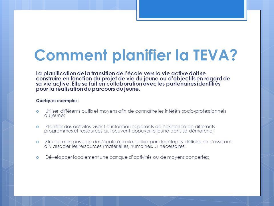 Comment planifier la TEVA? La planification de la transition de l'école vers la vie active doit se construire en fonction du projet de vie du jeune ou